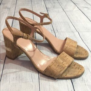 Stuart Weitzman Once Cork Ankle Open Toe Heels